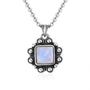 925 Silver Natural Moonstone Turquoise Jewelry Necklaces Women Vintage Pendants