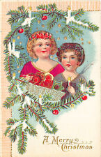 A Merry Christmas Satin Clothed Young Girl & Angel Embossed Postcard