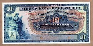 Costa Rica Banco Internacional 10 Colones Pick 186s Specimen