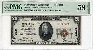 1929 $20 MARINE NATIONAL BANKNOTE MILWAUKEE WISCONSIN PMG CH ABOUT UNC 58 EPQ
