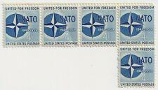 1959 USA - 10th Anniversary of NATO - Block 5 x 4 Cent Stamps