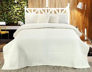 Handmade Cotton Quilted Bedspread Set Quilt Bed Set Harvard Ivory