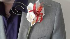 Gents Red & White Buttonhole