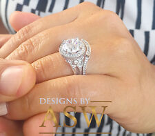 14K Solid White Gold Round Cut Simulated Diamond Engagement Ring Halo 3.00Ct