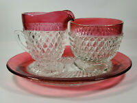 Vintage Tiffin Flash Kings Crown Diamond Ruby Cream & Sugar w/ Plate