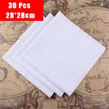 Lot of 30 Unique Men Pocket Handkerchief Wowen Retro White Hankies 28*28cm UC913