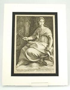 Hendrik Goltzius Engraving Muse Polyhymnia antique master print c.1600