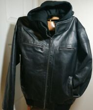Guess Moto Mens XL Faux Leather Jacket Removable Hoodie and Bib Size XL