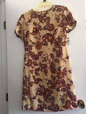 TALBOTS WOMEN DRESS PURE SILK PAISLEY SHIFT GOLD/RUST/TAN NWT 4