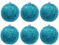 12 Chunky Glitter Aqua Blue Ball Christmas Tree Ornaments Shatterproof R