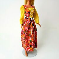 Vintage Barbie #9575 Best Buy Fashion Red & Yellow Floral Calico Maxi Dress MINT