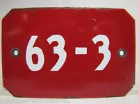 Old Porcelain  63-3  Sign red white enamel industrial factory equipment machine