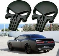 2pcs 3D Metal Punisher Emblem Sticker Skeleton Skull Decals Car Bike Truck BLACK