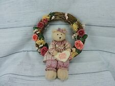 """Decorative Wooden Wreath Roses 14"""" Shabby Chic Teddy Bear Plush Home Sweet Home"""