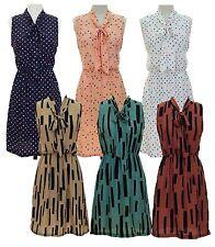 Women's Regular Polka Dot Sleeveless Knee-Length Dresses
