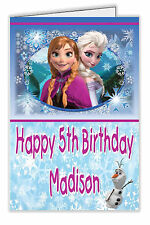 Frozen  Olaf Anna & Elsa Design Personalised Birthday Card - Any Name and Age