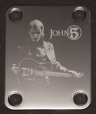 GUITAR NECK PLATE Custom Engraved Etched - Fits Fender - JOHN 5 - Chrome