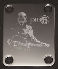 Engraved Photo Etched GUITAR NECK PLATE - Fits Fender - JOHN 5 - Chrome