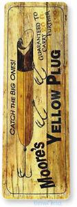 Yellow Plug Fishing Sign, Bait, Lure, Tackle, Fish, Tin Sign B693