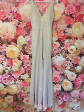 Gino Cerruti Long Nude Silver Detail Prom Gown Evening Dress UK 8