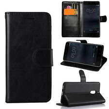 For Nokia 3 5 6 ( 2017 )Smartphones - Black Leather Flip Wallet Case Stand Cover