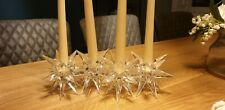 Glass Crystal Ice Frost Effect Christmas 4 Candle Holder Table Centre Piece