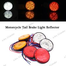2x Car Motorcycle Motorbike Reflector LED Rear Tail Brake Stop Light Lamp Round