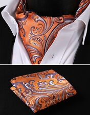 RF403N Orange Purple Floral 100% Silk Cravat Woven Ascot Hanky Handkerchief Set
