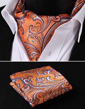 RF403N Orange Purple Floral 100% Silk Cravat Woven Ascot Hanky Handkerchief Set