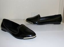Aldo Black Patent Leather Gold Stud Studded Flats Size 8 Shoes Loafers Slip Ons