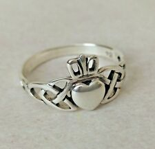 CELTIC CLADDAGH LOVE HEART 925 STERLING SILVER RING IN APPROX SIZE L GIFT BOXED