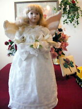 "Vintage 24"" Adorable Angel Satiny White Lace Gold Hair FreeStand Centerpiece Euc"
