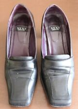 Next Black Leather Heeled smart court shoes size 5 (38) square toeGood condition