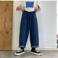 Mens Denim Jeans Loose Casual Long Trousers Retro Pants Vintage Oversize Fashion
