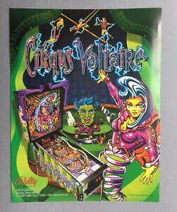 RARE VINTAGE ARCADE PINBALL MACHINE  FLYER – CIRQUS VOLTAIRE– GAME, BALLY, 1997.