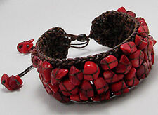 "32.8g Natural Red Sponge Coral 25mm Wide Wax Thread Bracelet 6"" expands to 10"""