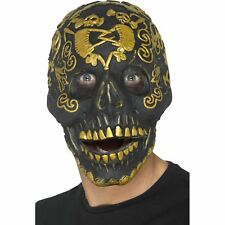 Deluxe Masquerade Skull Mask Gold Jaw Halloween Adults Mens Fancy Dress Costume