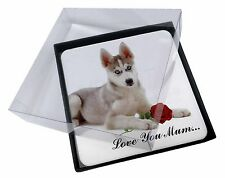 4x Husky with Red Rose 'Love You Mum' Picture Table Coasters Set in, AD-H54RlymC