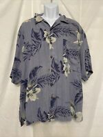 Tommy Bahama Men's 100% Silk Short Sleeve Button Hawaiian Shirt Blue Floral