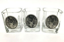 Heritage Metalwork Fine Pewter Drink Glass Tumbler BarWare Deer Mouse Head Set/3