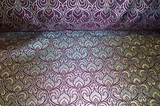 """Burgundy/gold Jacquard 6 Cloth Fabric Material Is 62"""" Wide Double Sided"""