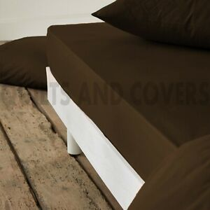 300TC 100% Egyptian Cotton Luxury Double Fitted Sheet 5 Star Choc Brown