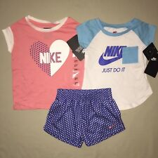 Girls Size 2 2t Nike Heart Just Do It Shirt Shorts Outfit Set Athletic Nwt