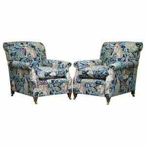 PAIR OF NEW GEORGE SMITH SIGNATURE ARMCHAIRS WILLIAM MORRIS FOREST LINEN FABRIC