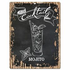 PP0577 Cocktails MOJITO Plate Chic Sign Bar Shop Cafe Home Kitchen Decor Ideas