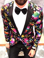 Diseñador insólitas de fumar Patrón de flores Traje de hombre chaqueta Entallado