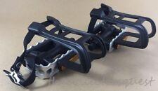 NEW ROAD BIKE Black PEDAL CLIPS & STRAPS Set P.P Body Steel Cage platform MTB