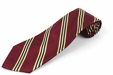 Brooks Brothers 346 Necktie Silk Striped Burgundy w Gold and Blue Stripes Tie