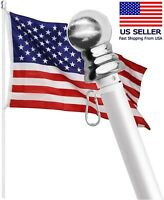 Tangle Free Spinning Flag Pole Aluminum 6FT Durable Rust Free Wind Resistant