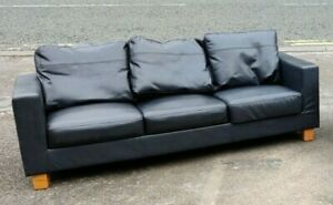 Sofas Black Faux Leather Living Room Student Couches FREE MANCHESTER DELIVERY